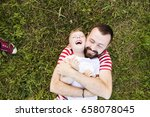hipster father and little son... | Shutterstock . vector #658078045