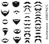 set of black icons of beards... | Shutterstock . vector #658079671
