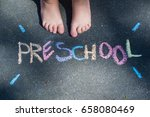 preschool concept  written with ... | Shutterstock . vector #658080469