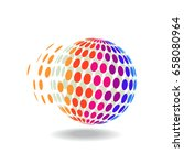 halftone in 3d global icon | Shutterstock .eps vector #658080964