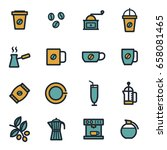vector flat coffee icons set on ... | Shutterstock .eps vector #658081465