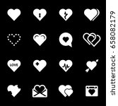 vector white heart icons set on ... | Shutterstock .eps vector #658082179