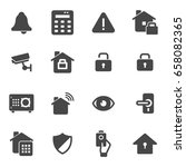 vector black home security... | Shutterstock .eps vector #658082365