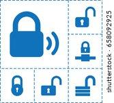 padlock icon. set of 6 padlock... | Shutterstock .eps vector #658092925