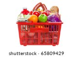 A shopping basket full of fresh colorful vegetables and fruit isolated on white background - stock photo