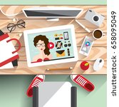 workplace modern girls. a young ... | Shutterstock .eps vector #658095049