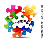 Stock vector abstract puzzle shape colorful vector design 65810140
