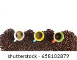 colorful coffee cups lined up... | Shutterstock . vector #658102879