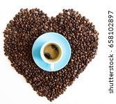 heart of coffee beans with... | Shutterstock . vector #658102897