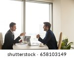business meeting of two... | Shutterstock . vector #658103149