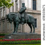 Small photo of Monument to the Russian Emperor Alexander III June 8, 2017 in St. Petersburg, Russia.