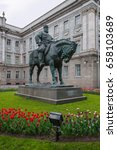 Small photo of Horse sculpture. Monument to the Russian Emperor Alexander III June 8, 2017 in St. Petersburg, Russia.