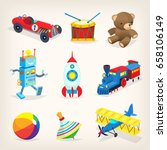 set of colorful retro toys for...
