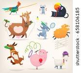 farm animals do morning... | Shutterstock .eps vector #658106185