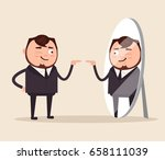 happy smiling narcissistic... | Shutterstock .eps vector #658111039