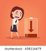 tired sad office worker... | Shutterstock .eps vector #658116679
