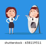 happy smiling narcissistic... | Shutterstock .eps vector #658119511