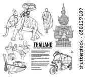 thailand travel landmarks. hand ... | Shutterstock .eps vector #658129189