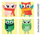 cute owl in action in the... | Shutterstock .eps vector #658131685