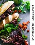 sandwich. fast food. deli... | Shutterstock . vector #658132495