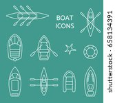 boat icons outline set. top... | Shutterstock .eps vector #658134391