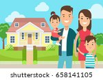 flat happy family on cosy house ... | Shutterstock .eps vector #658141105