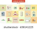 linear flat kitchen furniture... | Shutterstock .eps vector #658141225