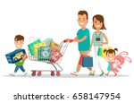 flat happy parents and children ... | Shutterstock .eps vector #658147954