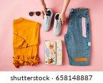 hands arranging flat lay shot... | Shutterstock . vector #658148887