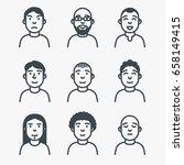 set of avatars. line style... | Shutterstock .eps vector #658149415