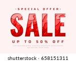 sale banner. vector paper cut... | Shutterstock .eps vector #658151311
