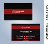 business card template. red and ... | Shutterstock .eps vector #658151599