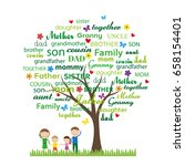 colorful family tree and happy...   Shutterstock .eps vector #658154401
