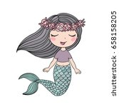 cartoon beautiful little... | Shutterstock .eps vector #658158205