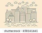 modern linear city. cityscape... | Shutterstock .eps vector #658161661