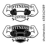 fitness emblems  muscle armss ... | Shutterstock .eps vector #658162489