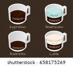 set of coffee types espresso ... | Shutterstock .eps vector #658175269