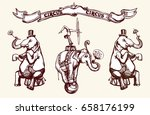 circus elephants perform a... | Shutterstock .eps vector #658176199