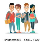 flat group of smiley students... | Shutterstock .eps vector #658177129