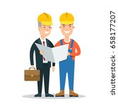 flat building foreman and... | Shutterstock .eps vector #658177207