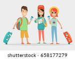 flat smiley teens with baggage  ... | Shutterstock .eps vector #658177279