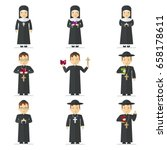 set of catholic priest  nun.... | Shutterstock .eps vector #658178611
