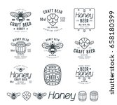 set of honey beer labels ... | Shutterstock .eps vector #658180399