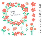 simple cute flowers and...   Shutterstock .eps vector #658181449