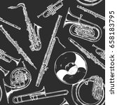 seamless pattern with woodwind... | Shutterstock .eps vector #658183795