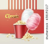 vector big red bowl of popcorn... | Shutterstock .eps vector #658192117