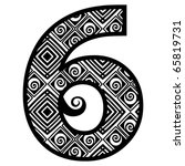 openwork numerals  number six | Shutterstock .eps vector #65819731