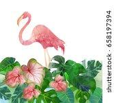 watercolor tropic background | Shutterstock . vector #658197394