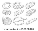meat products sketch vector... | Shutterstock .eps vector #658200109