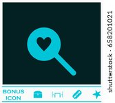 heart search icon flat. blue...